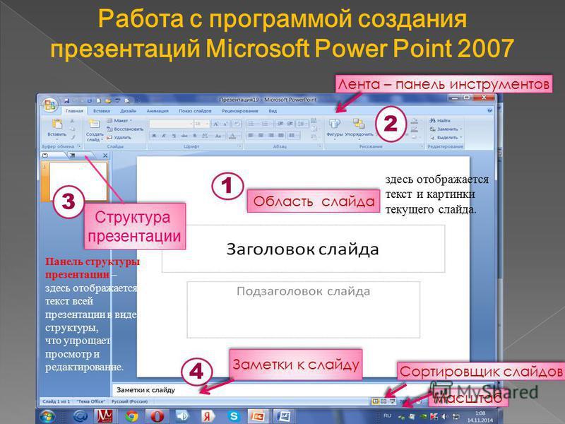 Структура презентации Лента – панель инструментов 2 1 4 3 Заметки к слайду Область слайда Панель структуры презентации – здесь отображается текст всей презентации в виде структуры, что упрощает просмотр и редактирование. здесь отображается текст и ка