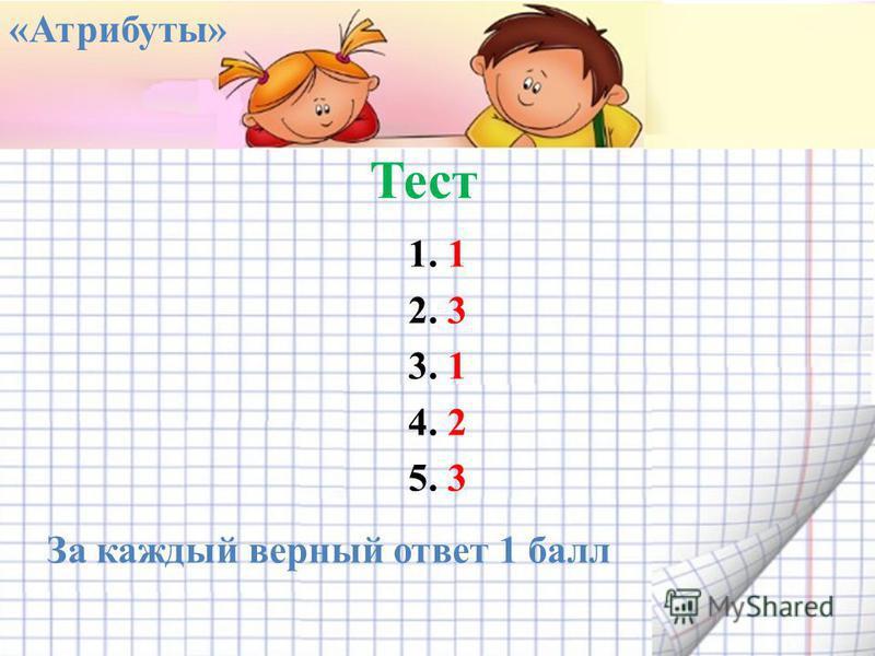 Тест 1. 1 2. 3 3. 1 4. 2 5. 3 «Атрибуты» За каждый верный ответ 1 балл