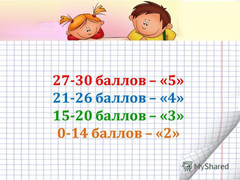 27-30 баллов – «5» 21-26 баллов – «4» 15-20 баллов – «3» 0-14 баллов – «2»