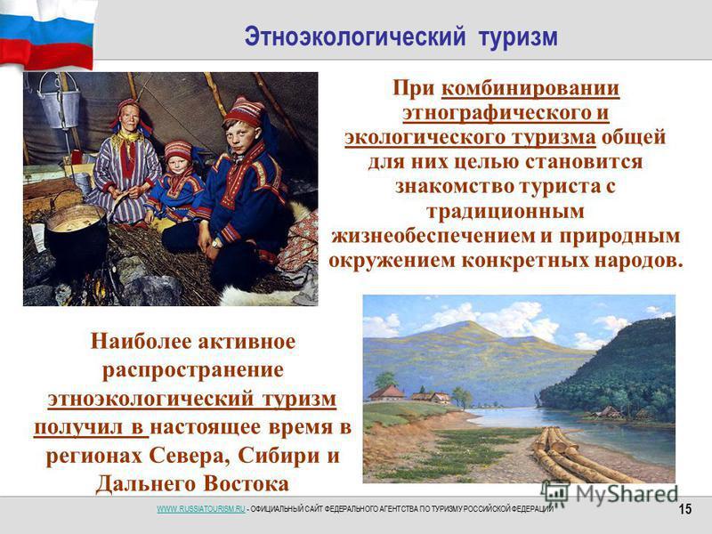 WWW.RUSSIATOURISM.RUWWW.RUSSIATOURISM.RU - ОФИЦИАЛЬНЫЙ САЙТ ФЕДЕРАЛЬНОГО АГЕНТСТВА ПО ТУРИЗМУ РОССИЙСКОЙ ФЕДЕРАЦИИ 15 Этноэкологический туризм При комбинировании этнографического и экологического туризма общей для них целью становится знакомство тури