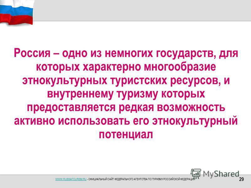 WWW.RUSSIATOURISM.RUWWW.RUSSIATOURISM.RU - ОФИЦИАЛЬНЫЙ САЙТ ФЕДЕРАЛЬНОГО АГЕНТСТВА ПО ТУРИЗМУ РОССИЙСКОЙ ФЕДЕРАЦИИ Россия – одно из немногих государств, для которых характерно многообразие этнокультурных туристских ресурсов, и внутреннему туризму кот