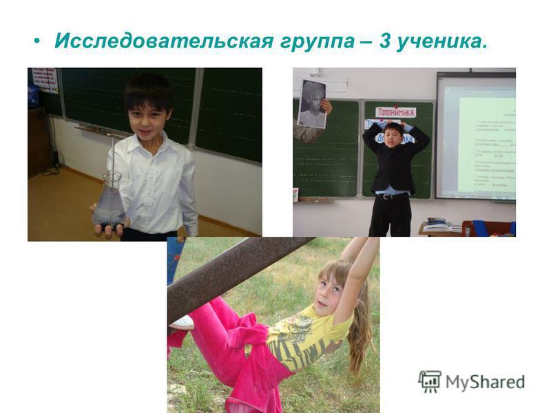 Исследовательская группа – 3 ученика.