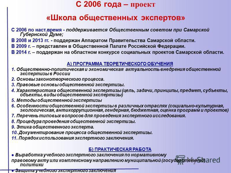 С 2006 года – проект «Школа общественных экспертов» С 2006 по наст.время - поддерживается Общественным советом при Самарской Губернской Думе; В 2008 и 2013 гг. - поддержан Аппаратом Правительства Самарской области. В 2009 г. – представлен в Обществен