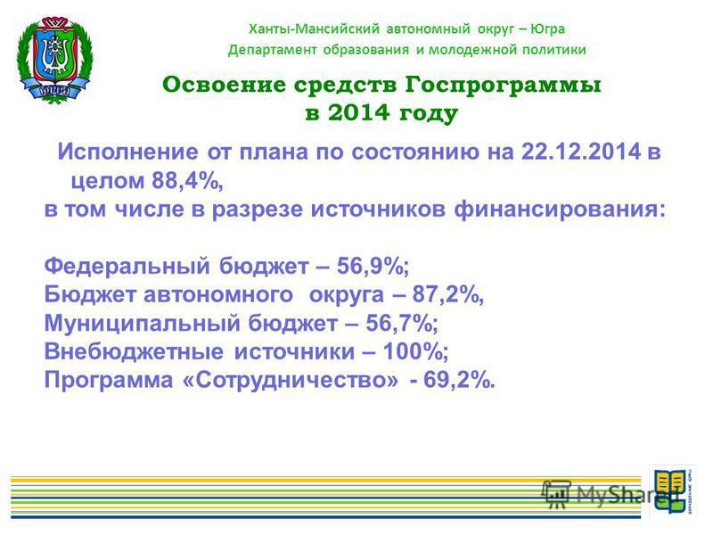 Ханты-Мансийский автономный округ – Югра Департамент образования и молодежной политики Исполнение от плана по состоянию на 22.12.2014 в целом 88,4%, в том числе в разрезе источников финансирования: Федеральный бюджет – 56,9%; Бюджет автономного округ
