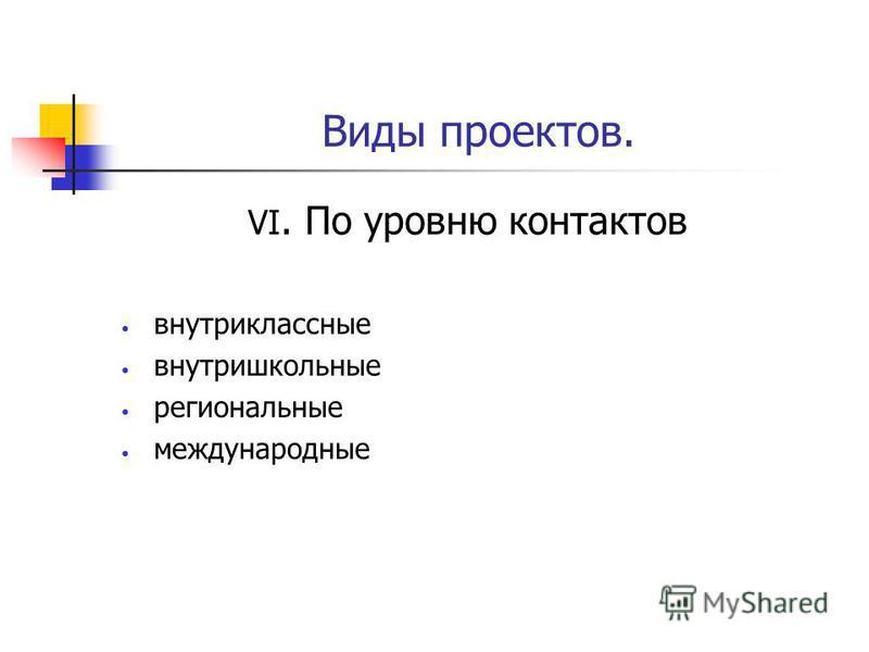 Виды проектов. VI. По уровню контактов внутри классные внутришкольные региональные международные