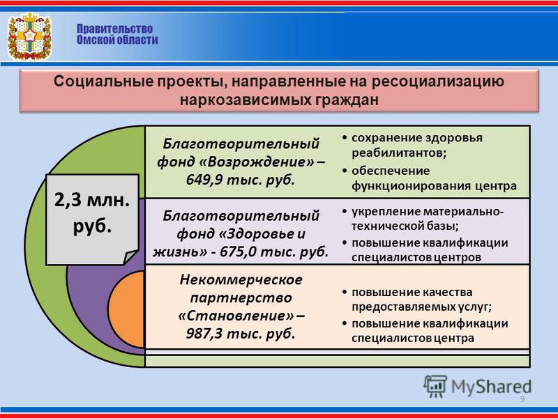 Правительство Омской области Социальные проекты, направленные на ресоциализацию наркозависимых граждан 9 Благотворительный фонд «Возрождение» – 649,9 тыс. руб. Благотворительный фонд «Здоровье и жизнь» - 675,0 тыс. руб. Некоммерческое партнерство «Ст