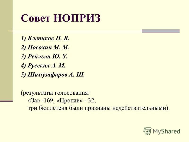 Совет НОПРИЗ 1) Клепиков П. В. 2) Посохин М. М. 3) Рейльян Ю. У. 4) Русских А. М. 5) Шамузафаров А. Ш. (результаты голосования: «За» -169, «Против» - 32, три бюллетеня были признаны недействительными).