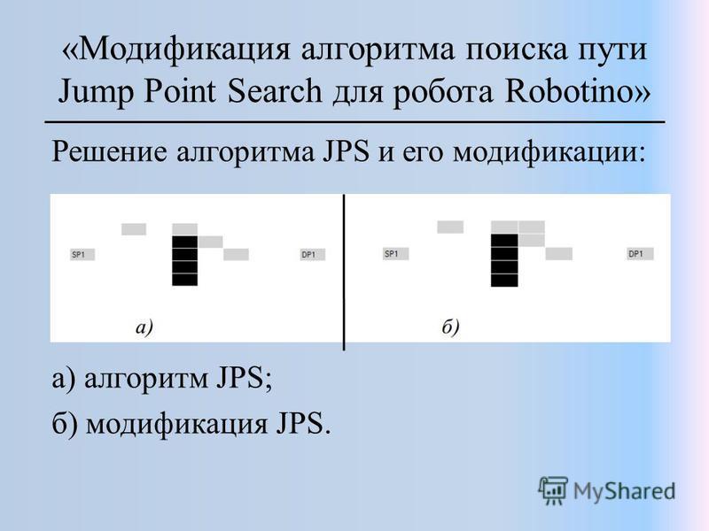 «Модификация алгоритма поиска пути Jump Point Search для робота Robotino» Решение алгоритма JPS и его модификации: а) алгоритм JPS; б) модификация JPS.