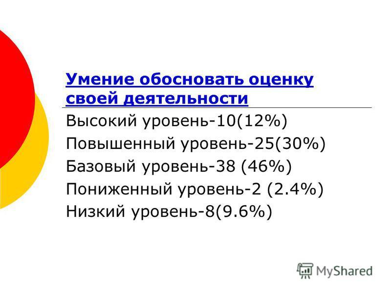 Умение обосновать оценку своей деятельности Высокий уровень-10(12%) Повышенный уровень-25(30%) Базовый уровень-38 (46%) Пониженный уровень-2 (2.4%) Низкий уровень-8(9.6%)