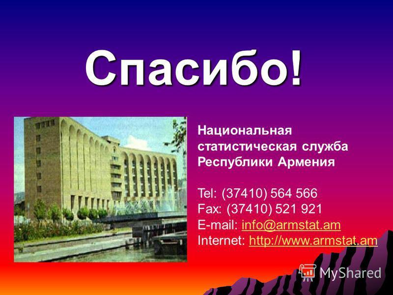 Спасибо! Национальная статистическая служба Республики Армения Tel: (37410) 564 566 Fax: (37410) 521 921 E-mail: info@armstat.aminfo@armstat.am Internet: http://www.armstat.amhttp://www.armstat.am