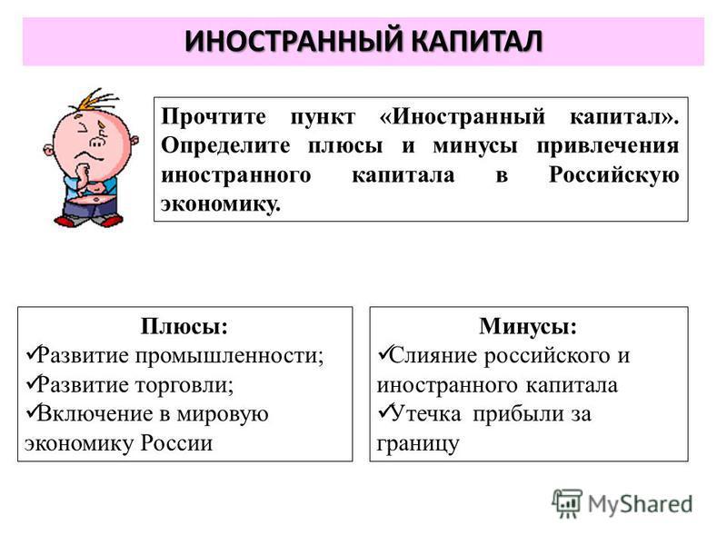 ИНОСТРАННЫЙ КАПИТАЛ Прочтите пункт «Иностранный капитал». Определите плюсы и минусы привлечения иностранного капитала в Российскую экономику. Плюсы: Развитие промышленности; Развитие торговли; Включение в мировую экономику России Минусы: Слияние росс