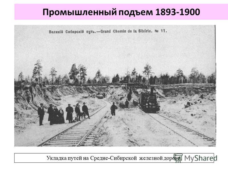 Промышленный подъем 1893-1900 Укладка путей на Средне-Сибирской железной дороге.