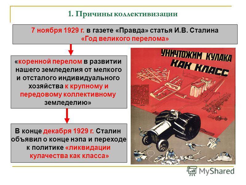 7 ноября 1929 г. в газете «Правда» статья И.В. Сталина «Год великого перелома» «коренной перелом в развитии нашего земледелия от мелкого и отсталого индивидуального хозяйства к крупному и передовому коллективному земледелию» В конце декабря 1929 г. С