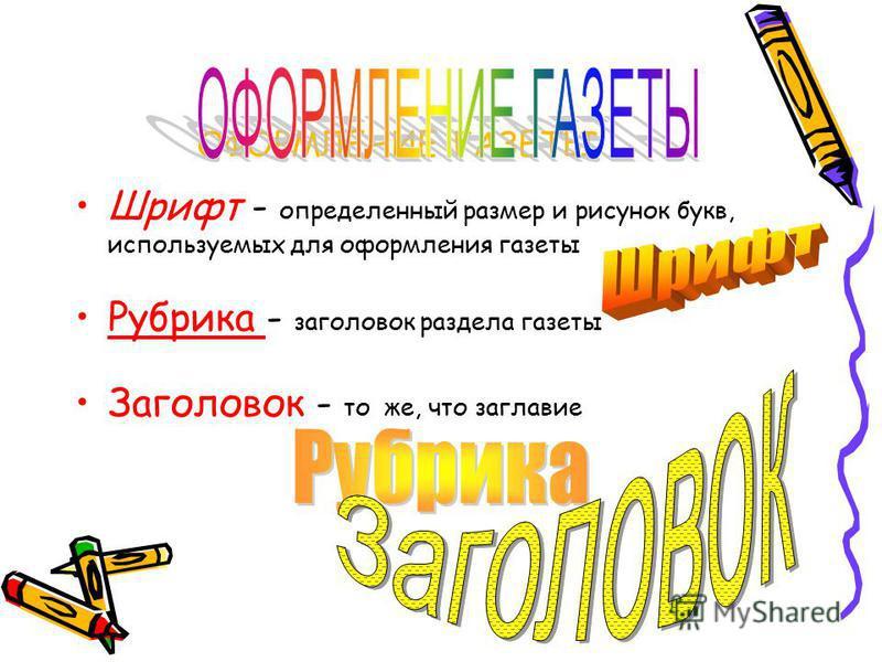 ОФОРМЛЕНИЕ ГАЗЕТЫ Шрифт - определенный размер и рисунок букв, используемых для оформления газеты Рубрика - заголовок раздела газеты Заголовок - то же, что заглавие