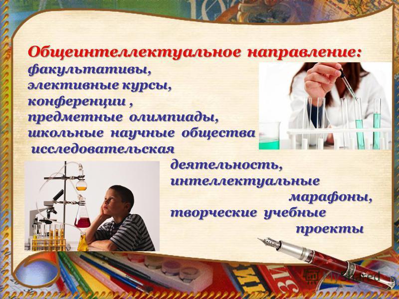 Общеинтеллектуальное направление: факультативы, элективные курсы, конференции, предметные олимпиады, школьные научные общества исследовательская исследовательская деятельность, деятельность, интеллектуальные интеллектуальные марафоны, марафоны, творч