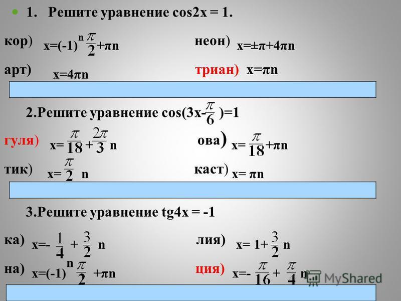 1. Решите уравнение cos2x = 1. кор) х=(-1) n +πn неон) х=±π+4πn арт) х=4πn триан) х=πn 2. Решите уравнение cos(3x- )=1 гуля) х= + n ава ) х= +πn тик) х= n каст) х= πn 3. Решите уравнение tg4x = -1 ка) х=- + n лия) х= 1+ n на) х=(-1) n +πn ция) х=- +