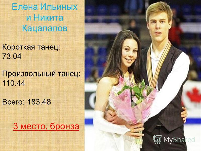 Елена Ильиных и Никита Кацалапов Короткая танец: 73.04 Произвольный танец: 110.44 Всего: 183.48 3 место, бронза