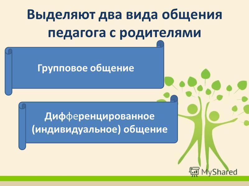 Выделяют два вида общения педагога с родителями Групповое общение Дифференцированное (индивидуальное) общение