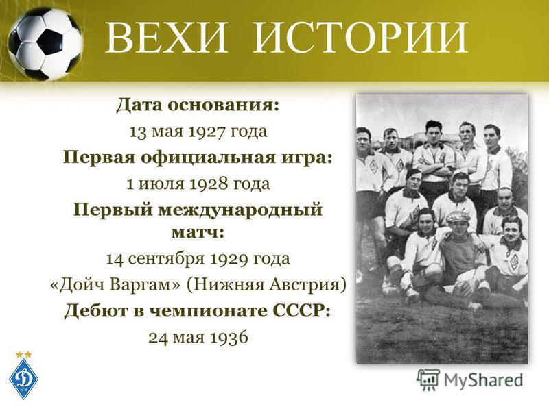 ВЕХИ ИСТОРИИ Дата основания: 13 мая 1927 года Первая официальная игра: 1 июля 1928 года Первый международный матч: 14 сентября 1929 года «Дойч Варгам» (Нижняя Австрия) Дебют в чемпионате СССР: 24 мая 1936