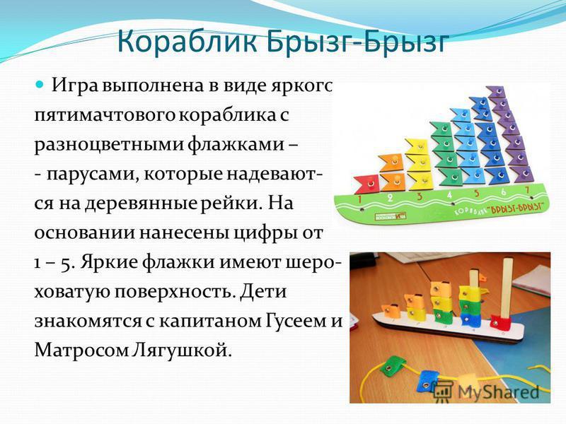 Кораблик Брызг-Брызг Игра выполнена в виде яркого пятимачтового кораблика с разноцветными флажками – - парусами, которые надевают- ся на деревянные рейки. На основании нанесены цифры от 1 – 5. Яркие флажки имеют шеро- ховатую поверхность. Дети знаком