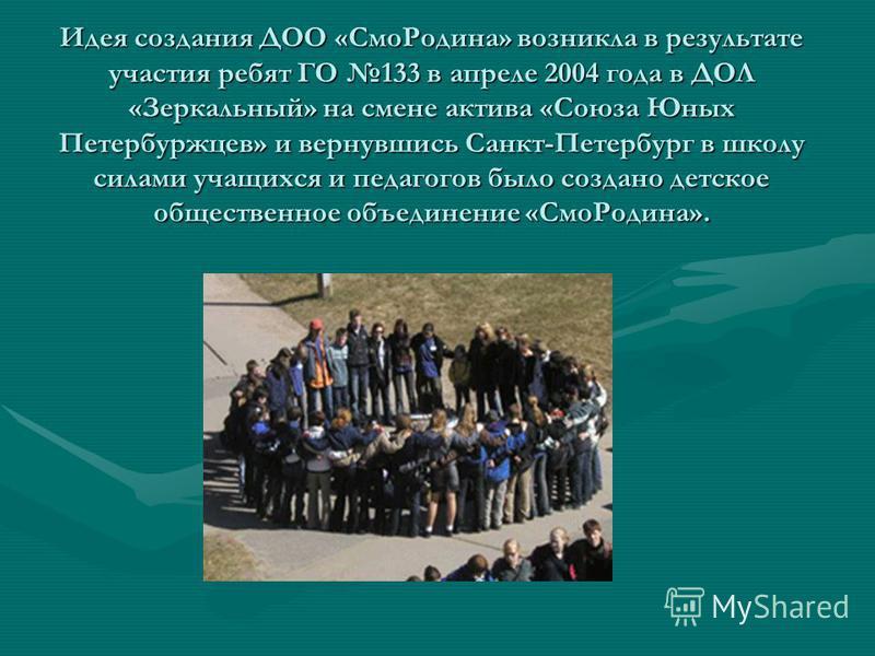 Идея создания ДОО «Смо Родина» возникла в результате участия ребят ГО 133 в апреле 2004 года в ДОЛ «Зеркальный» на смене актива «Союза Юных Петербуржцев» и вернувшись Санкт-Петербург в школу силами учащихся и педагогов было создано детское общественн