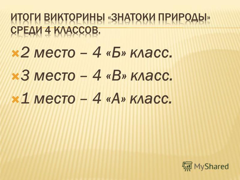 2 место – 4 «Б» класс. 3 место – 4 «В» класс. 1 место – 4 «А» класс.