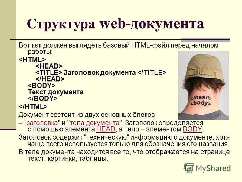 Структура web-документа Вот как должен выглядеть базовый HTML-файл перед началом работы: Заголовок документа Текст документа Документ состоит из двух основных блоков –