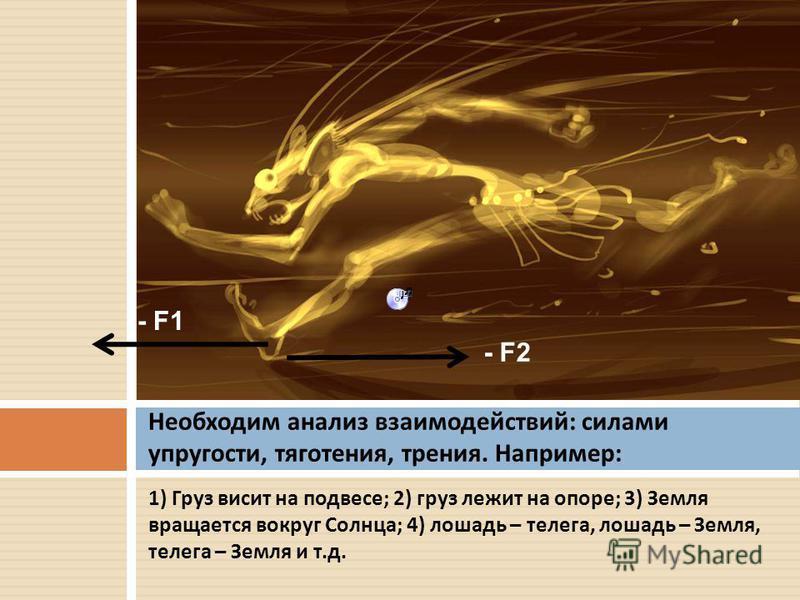 1) Груз висит на подвесе ; 2) груз лежит на опоре ; 3) Земля вращается вокруг Солнца ; 4) лошадь – телега, лошадь – Земля, телега – Земля и т. д. Необходим анализ взаимодействий : силами упругости, тяготения, трения. Например : - F2 - F1