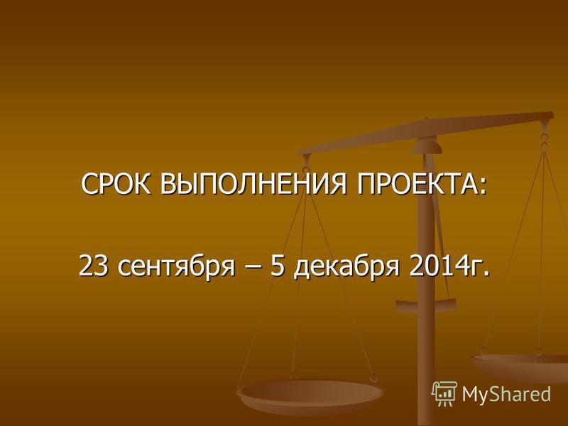 СРОК ВЫПОЛНЕНИЯ ПРОЕКТА: 23 сентября – 5 декабря 2014 г.