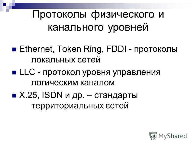 Протоколы физического и канального уровней Ethernet, Token Ring, FDDI - протоколы локальных сетей LLC - протокол уровня управления логическим каналом X.25, ISDN и др. – стандарты территориальных сетей