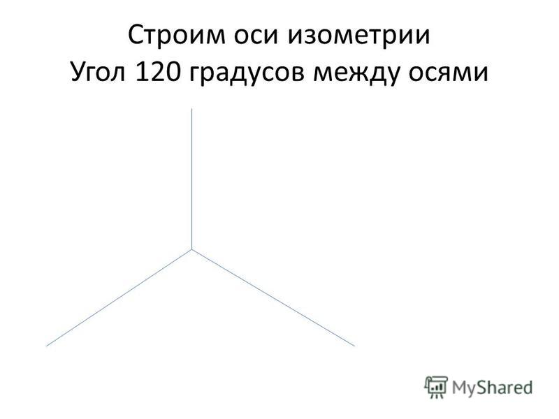 Строим оси изометрии Угол 120 градусов между осями