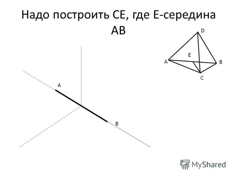 Надо построить CE, где Е-середина АВ A B A B C D Е