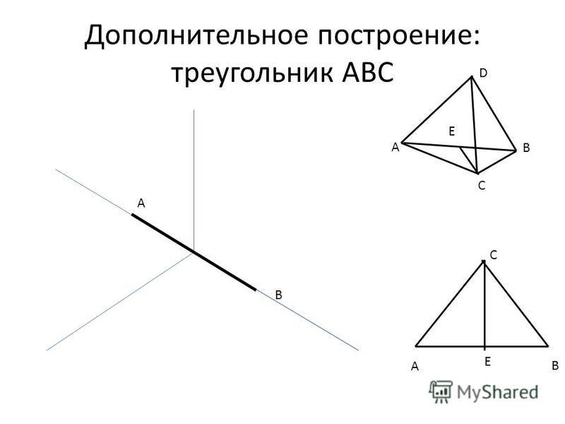 Дополнительное построение: треугольник ABC A B A B C D Е A C B E