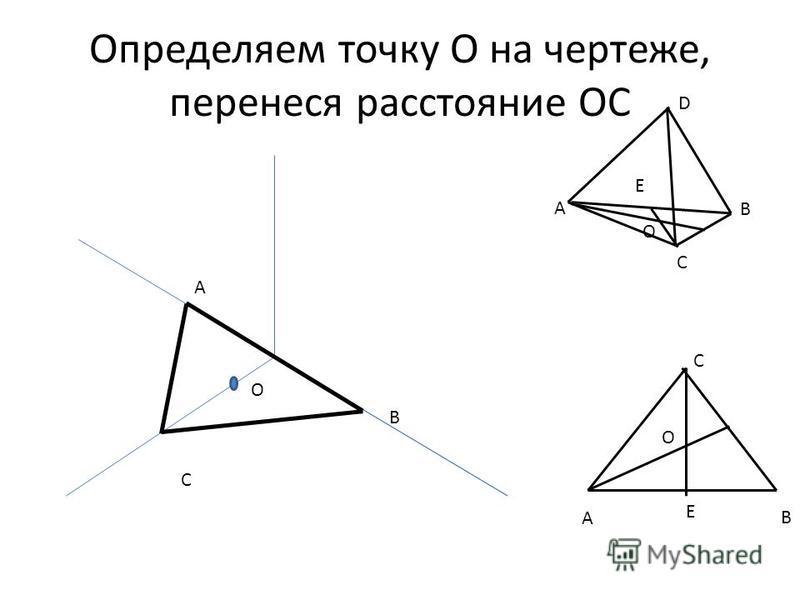 Определяем точку О на чертеже, перенеся расстояние ОС A B B С A B C D Е О A C E О O