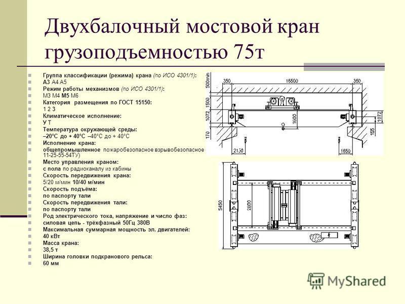 Двухбалочный мостовой кран грузоподъемностью 75 т Группа классификации (режима) крана (по ИСО 4301/1): А3 А4 А5 Режим работы механизмов (по ИСО 4301/1): М3 М4 М5 М6 Категория размещения по ГОСТ 15150: 1 2 3 Климатическое исполнение: У Т Температура о