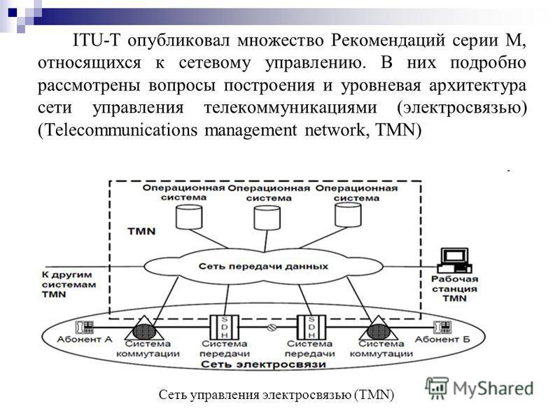 ITU-T опубликовал множество Рекомендаций серии М, относящихся к сетевому управлению. В них подробно рассмотрены вопросы построения и уровневая архитектура сети управления телекоммуникациями (электросвязью) (Telecommunications management network, TMN)