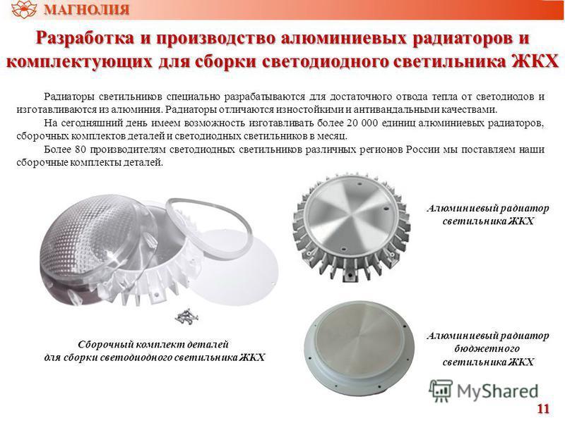 Разработка и производство алюминиевых радиаторов и комплектующих для сборки светодиодного светильника ЖКХ 11 Радиаторы светильников специально разрабатываются для достаточного отвода тепла от светодиодов и изготавливаются из алюминия. Радиаторы отлич