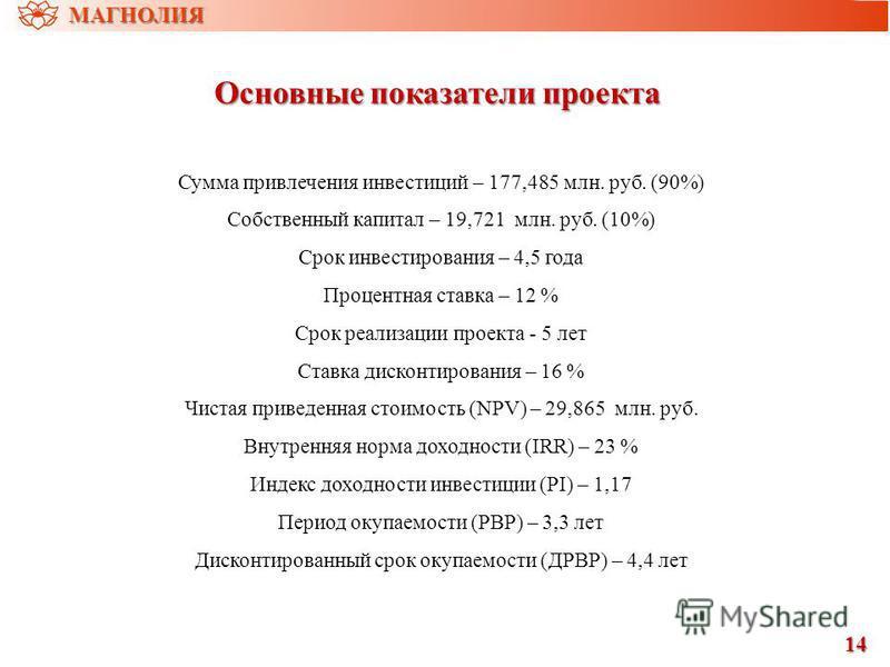 Основные показатели проекта Сумма привлечения инвестиций – 177,485 млн. руб. (90%) Собственный капитал – 19,721 млн. руб. (10%) Срок инвестирования – 4,5 года Процентная ставка – 12 % Срок реализации проекта - 5 лет Ставка дисконтирования – 16 % Чист