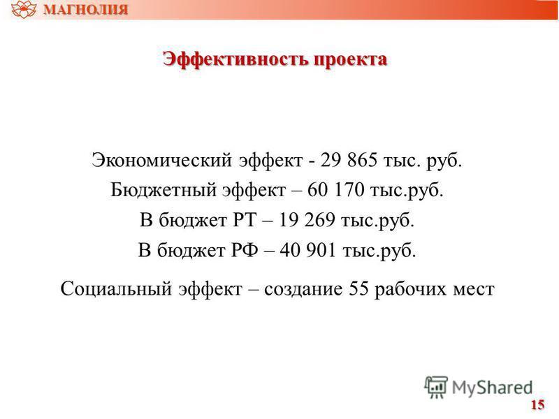 Эффективность проекта Экономический эффект - 29 865 тыс. руб. Бюджетный эффект – 60 170 тыс.руб. В бюджет РТ – 19 269 тыс.руб. В бюджет РФ – 40 901 тыс.руб. Социальный эффект – создание 55 рабочих мест 15151515 МАГНОЛИЯ