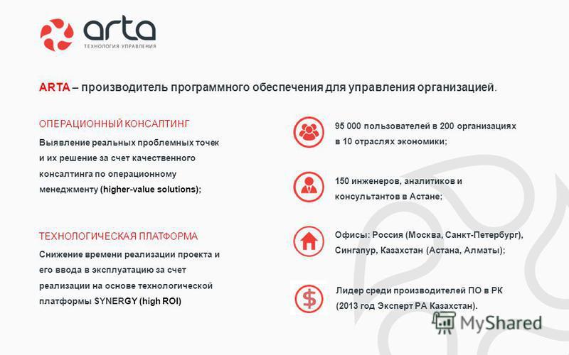 150 инженеров, аналитиков и консультантов в Астане; 95 000 пользователей в 200 организациях в 10 отраслях экономики; Лидер среди производителей ПО в РК (2013 год Эксперт РА Казахстан). Снижение времени реализации проекта и его ввода в эксплуатацию за