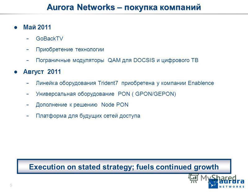5 Aurora Networks – покупка компаний Май 2011 GoBackTV Приобретение технологии Пограничные модуляторы QAM для DOCSIS и цифрового ТВ Август 2011 Линейка оборудования Trident7 приобретена у компании Enablence Универсальная оборудование PON ( GPON/GEPON