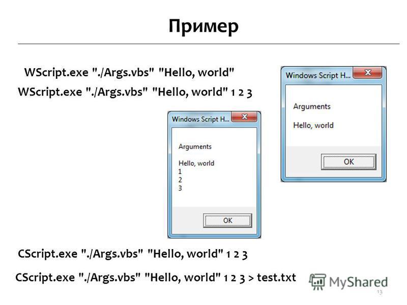 Пример WScript.exe ./Args.vbs Hello, world 13 WScript.exe ./Args.vbs Hello, world 1 2 3 СScript.exe ./Args.vbs Hello, world 1 2 3 СScript.exe ./Args.vbs Hello, world 1 2 3 > test.txt