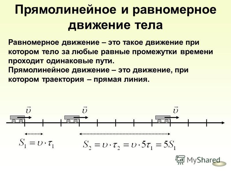 Прямолинейное и равномерное движение тела Равномерное движение – это такое движение при котором тело за любые равные промежутки времени проходит одинаковые пути. Прямолинейное движение – это движение, при котором траектория – прямая линия.