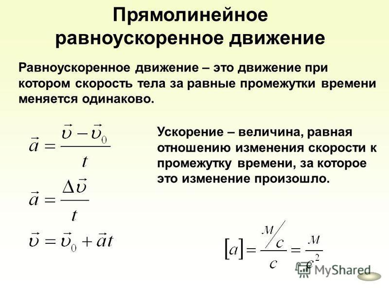 Прямолинейное равноускоренное движение Равноускоренное движение – это движение при котором скорость тела за равные промежутки времени меняется одинаково. Ускорение – величина, равная отношению изменения скорости к промежутку времени, за которое это и