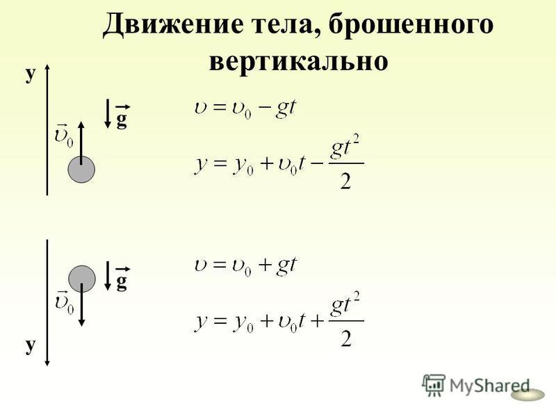 Движение тела, брошенного вертикально g у g у