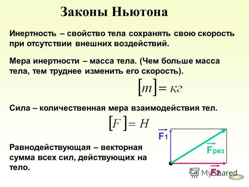 Законы Ньютона Инертность – свойство тела сохранять свою скорость при отсутствии внешних воздействий. Мера инертности – масса тела. (Чем больше масса тела, тем труднее изменить его скорость). Сила – количественная мера взаимодействия тел. Равнодейств
