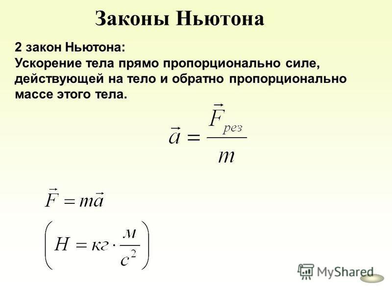 Законы Ньютона 2 закон Ньютона: Ускорение тела прямо пропорционально силе, действующей на тело и обратно пропорционально массе этого тела.