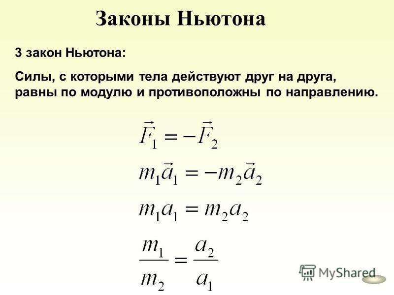Законы Ньютона 3 закон Ньютона: Силы, с которыми тела действуют друг на друга, равны по модулю и противоположны по направлению.