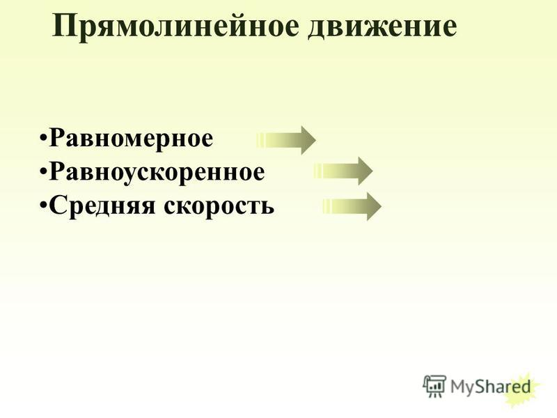 Прямолинейное движение Равномерное Равноускоренное Средняя скорость