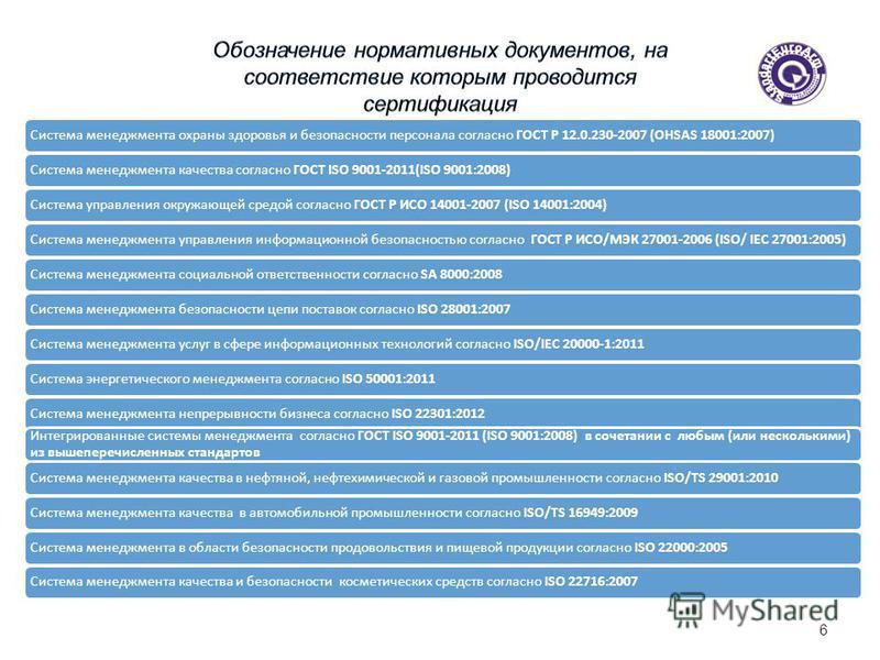 6 Система менеджмента охраны здоровья и безопасности персонала согласно ГОСТ Р 12.0.230-2007 (OHSAS 18001:2007)Система менеджмента качества согласно ГОСТ ISO 9001-2011(ISO 9001:2008)Система управления окружающей средой согласно ГОСТ Р ИСО 14001-2007